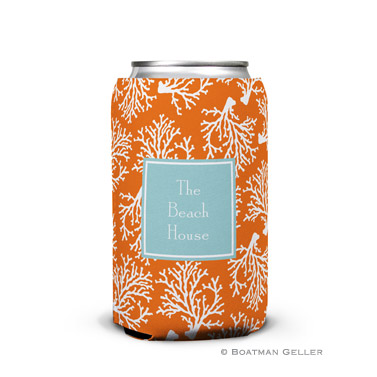 Coral Repeat Can Koozie