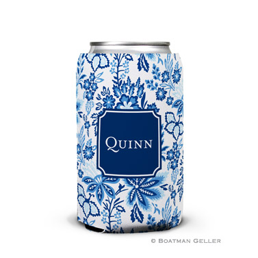 Classic Floral Blue Can Koozie