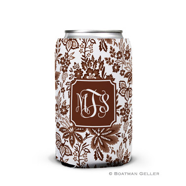 Classic Floral Brown Can Koozie