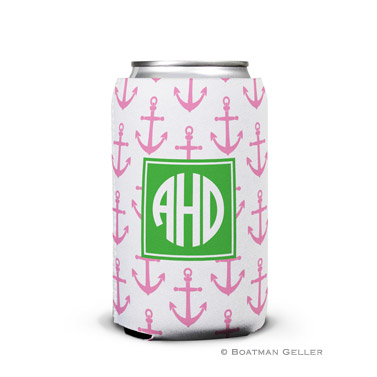 Anchors Pink Can Koozie