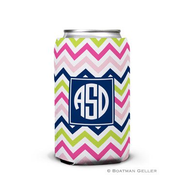 Chevron Pink, Navy & Lime Can Koozie