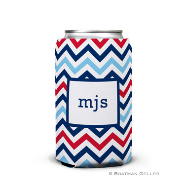 Chevron Blue & Red Can Koozie