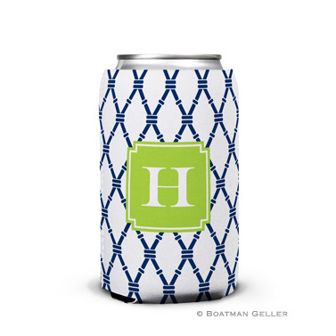 Bamboo Navy & Green Can Koozie