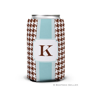 Alex Houndstooth Chocolate Can Koozie