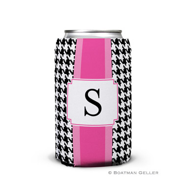 Alex Houndstooth Black Can Koozie