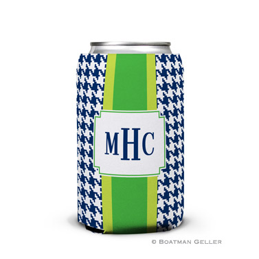 Alex Houndstooth Navy Can Koozie