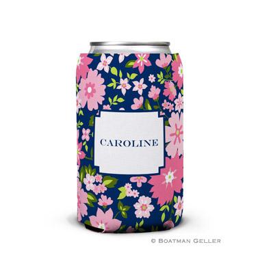 Caroline Floral Pink Can Koozie