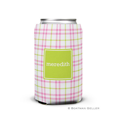 Miller Check Pink & Green Can Koozie