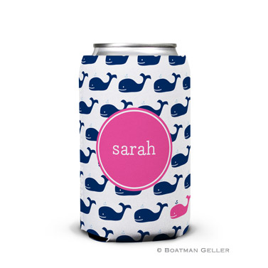 Whale Repeat Navy Can Koozie
