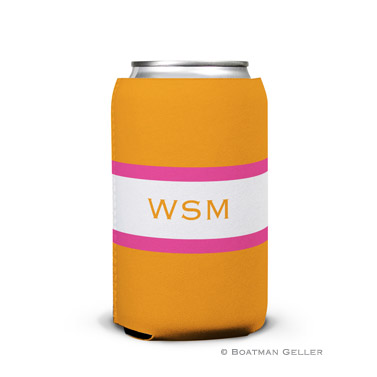 Stripe Tangerine & Raspberry Can Koozie