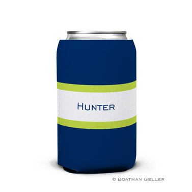 Stripe Navy & Lime Can Koozie