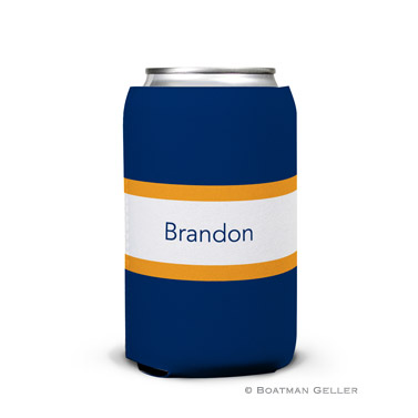Stripe Navy & Tangerine Can Koozie