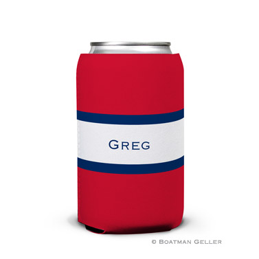 Stripe Red & Navy Can Koozie