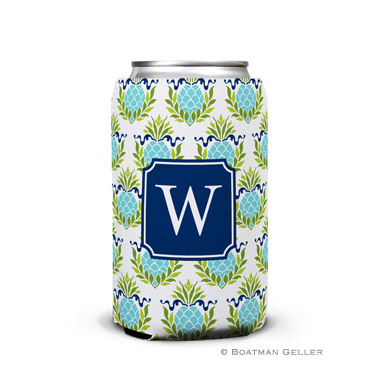 Pineapple Repeat Teal Can Koozie