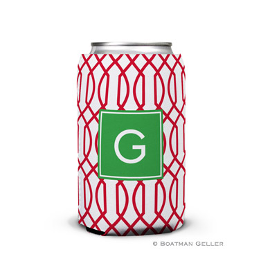 Trellis Reverse Cherry Holiday Koozie Can