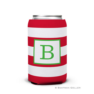 Awning Stripe Red Holiday Koozie Can