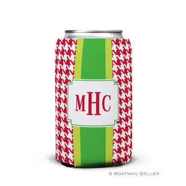 Alex Houndstooth Red Holiday Koozie Can