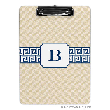 Greek Key Band Navy Clipboard