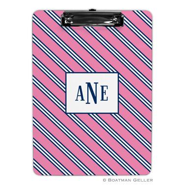 Repp Tie Pink & Navy Clipboard