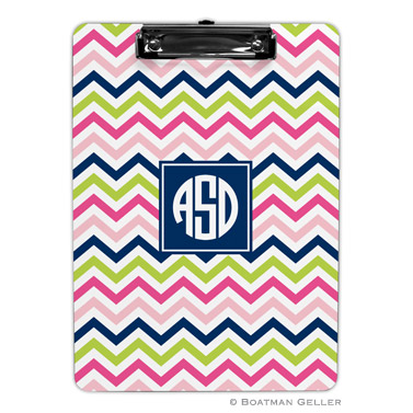 Chevron Pink, Navy & Lime Clipboard