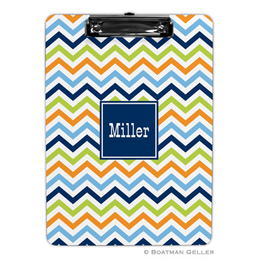 Chevron Blue, Orange & Lime Clipboard