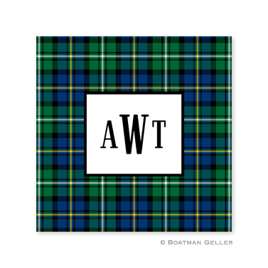 Black Watch Plaid Holiday Paper Coasters