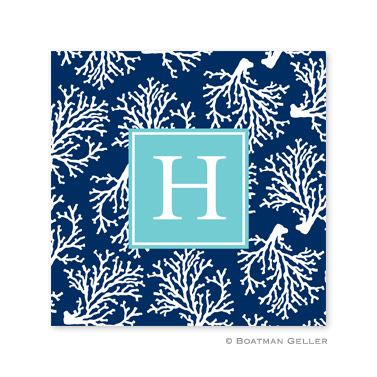 Coral Repeat Navy Coasters