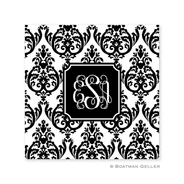 Madison Damask White with Black Coasters