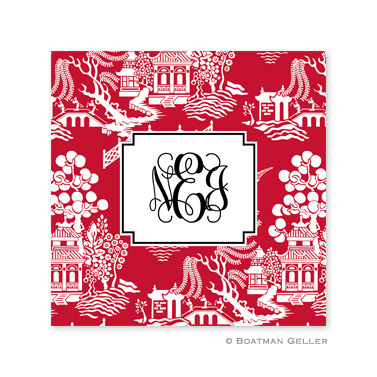 Chinoiserie Red Holiday Paper Coasters