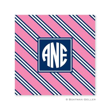 Repp Tie Pink & Navy Coasters
