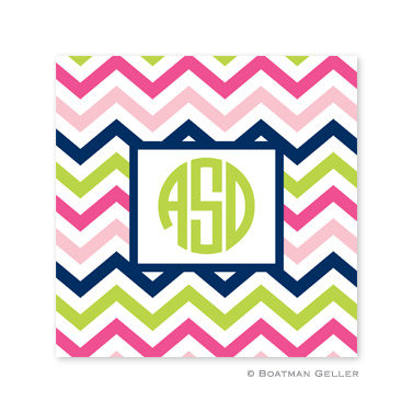 Chevron Pink, Navy & Lime Coasters