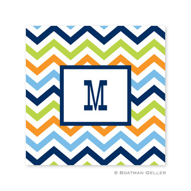 Chevron Blue, Orange & Lime Coasters