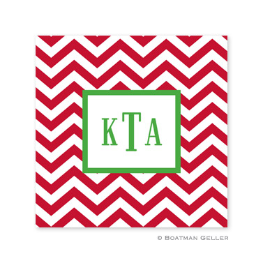 Chevron Red Holiday Paper Coasters