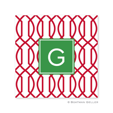 Trellis Reverse Cherry Holiday Paper Coasters