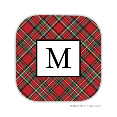 Plaid Red  Holiday Coaster - set of 4