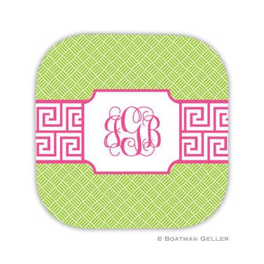 Greek Key Band Pink Coaster