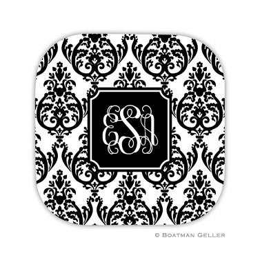 Madison Damask White with Black Coaster