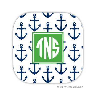 Anchors Navy Coaster