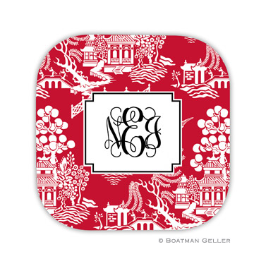 Chinoiserie Red Holiday Coaster - set of 4