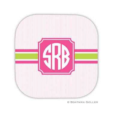 Seersucker Band Pink & Green Coaster