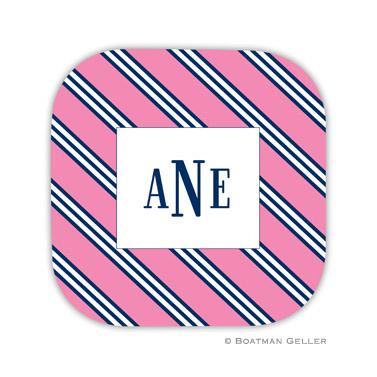 Repp Tie Pink & Navy Coaster