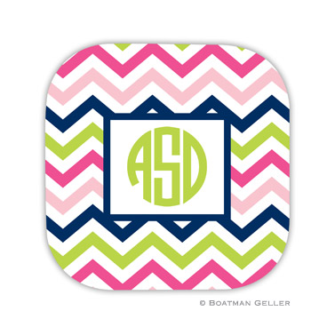 Chevron Pink, Navy & Lime Coaster