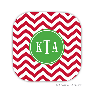 Chevron Red Holiday Coaster - set of 4