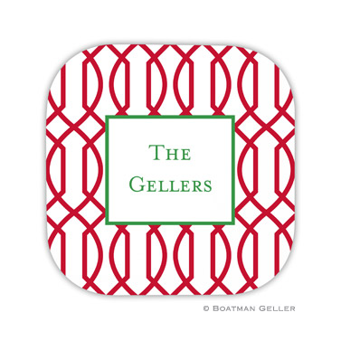 Trellis Reverse Cherry Holiday Coaster - set of 4