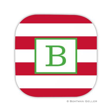 Awning Stripe Red Holiday Coaster - set of 4