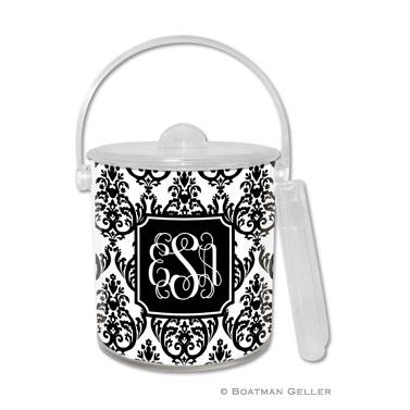 Madison Damask White with Black Ice Bucket