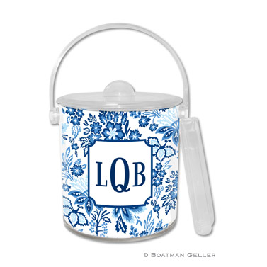 Classic Floral Blue Ice Bucket