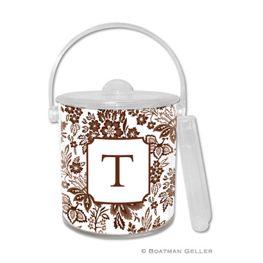 Classic Floral Brown Ice Bucket