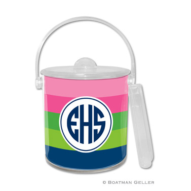 Bold Stripe Pink, Green & Navy Ice Bucket