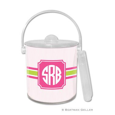 Seersucker Band Pink & Green Ice Bucket